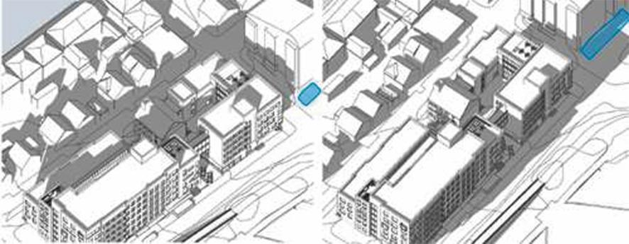 Figur 21. Solforhold etter utbygging. Til venstre mars kl.15, til høyre juni kl.18. Blå markering viser lekeplassen.