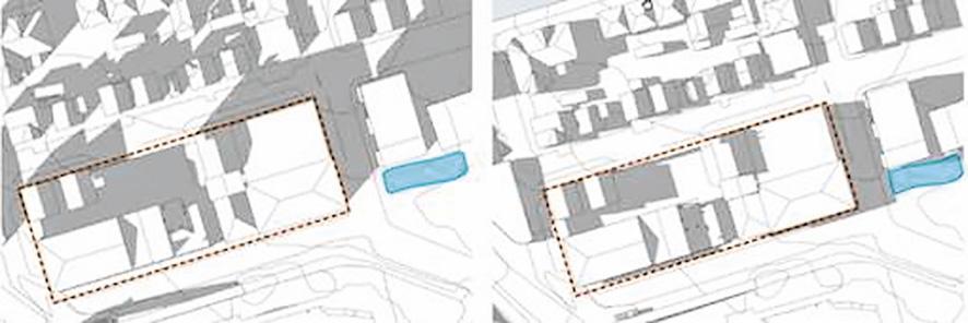 Figur 20. Eksisterende solforhold. Til venstre er mars kl.15, til høyre juni kl.18. Rød stiplet linje viser kvartalet, blå markering viser lekeplass.